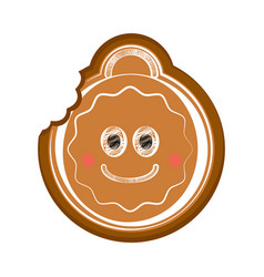 Happy bitten christmas ball gingerbread vector