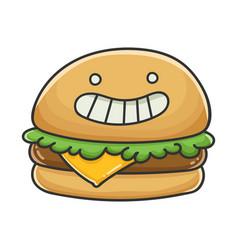 happy cheese burger cartoon vector image