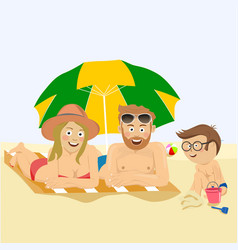 happy family lying on beach under umbrella vector image