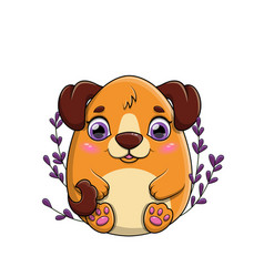 happy little brown cartoon dog with large purple vector image