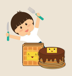 Hapy boy holding fork and knife breakfast vector