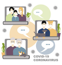 internet communication with family concept three vector image