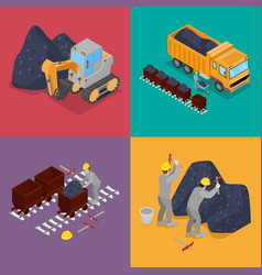 isometric coal industry with workers in mine vector image