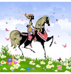 Khokhloma horse girl Pattern vector image