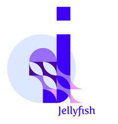 Letter j - jellyfish vector