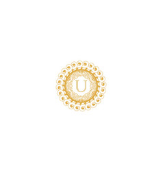 Letter u initial logo for wedding boutique luxury vector