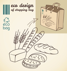 Line drawing of bakery products for shopping bag vector