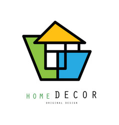 Linear logo for home decorating company or vector