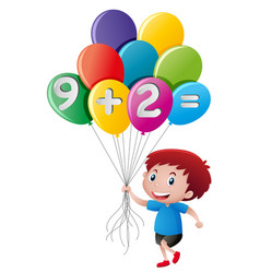 Little boy holding balloon with math equation vector