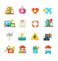 long life insurance flat icons family vector image