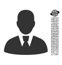 Manager icon with people bonus vector