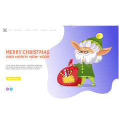 merry christmas and happy new year elf website vector image