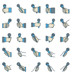 microphone in hand outline colorful icons vector image