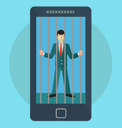 mobile phone and social media addiction man vector image