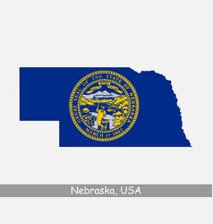 nebraska usa map flag vector image