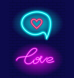 neon hand drawn lettering love phrase vector image