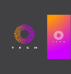O letter logo technology connected dots letter vector