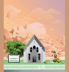 Parish church harvest festival at dawn vector