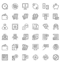 Paying outline icons set - money vector