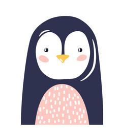 Penguin cute animal baface vector
