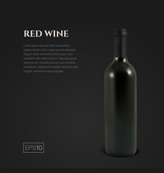 photorealistic bottle of red wine on a black vector image