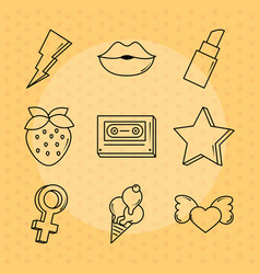 pop art comic style stickers fashion retro dotted vector image