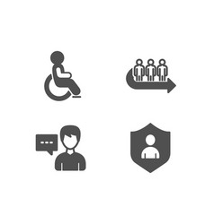 Queue disabled and person talk icons security vector