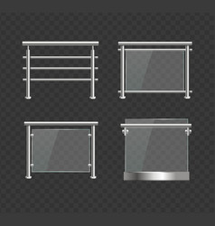 Realistic detailed 3d glass balustrade with metal vector