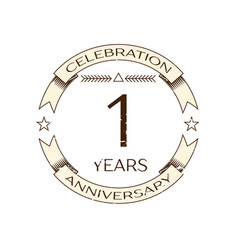 Realistic one years anniversary celebration logo vector