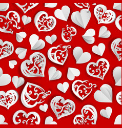 seamless pattern of paper hearts vector image