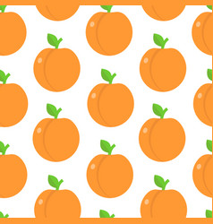 seamless pattern with peaches in flat style vector image