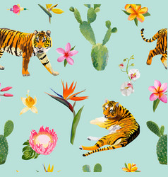 Seamless pattern with tigers tropical flowers vector
