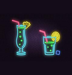 Set of cocktail neon emblem vector