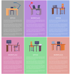 set of empty workplaces desks vector image