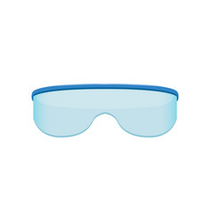Shield style sunglasses with blue tinted lenses vector