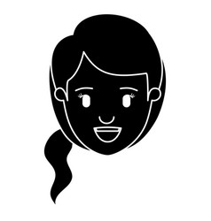 Silhouette black front view face woman with side vector