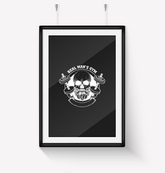 Sketch angry sport skull with dumbbells vector