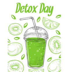 sketch detox poster smoothie glass take away vector image