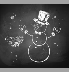 snowman character wearing cylinder hat vector image