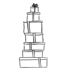 Stack of Christmas gifts vector