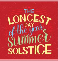 Summer solstice lettering vector