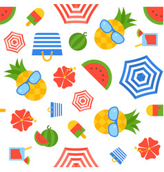 summer theme seamless pattern flat design vector image