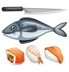 Sushi set with raw fish and knife vector