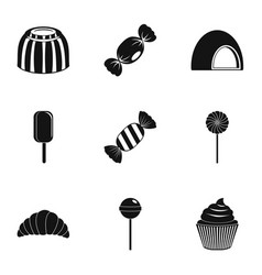 sweet desserts icon set simple style vector image
