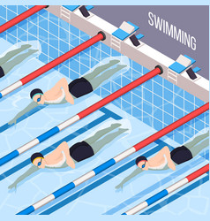 Swimming pool isometric background vector