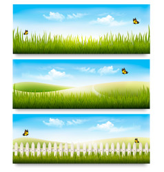 three nature summer meadow landscape banners with vector image
