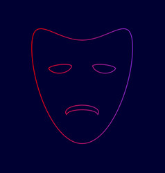 tragedy theatrical masks line icon with vector image