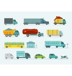 Transportation set Trucks end bus passenger cars vector