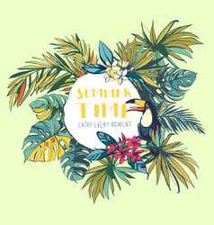 Tropical floral summer beach party invitation vector