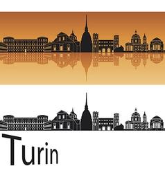 Turin skyline in orange background vector